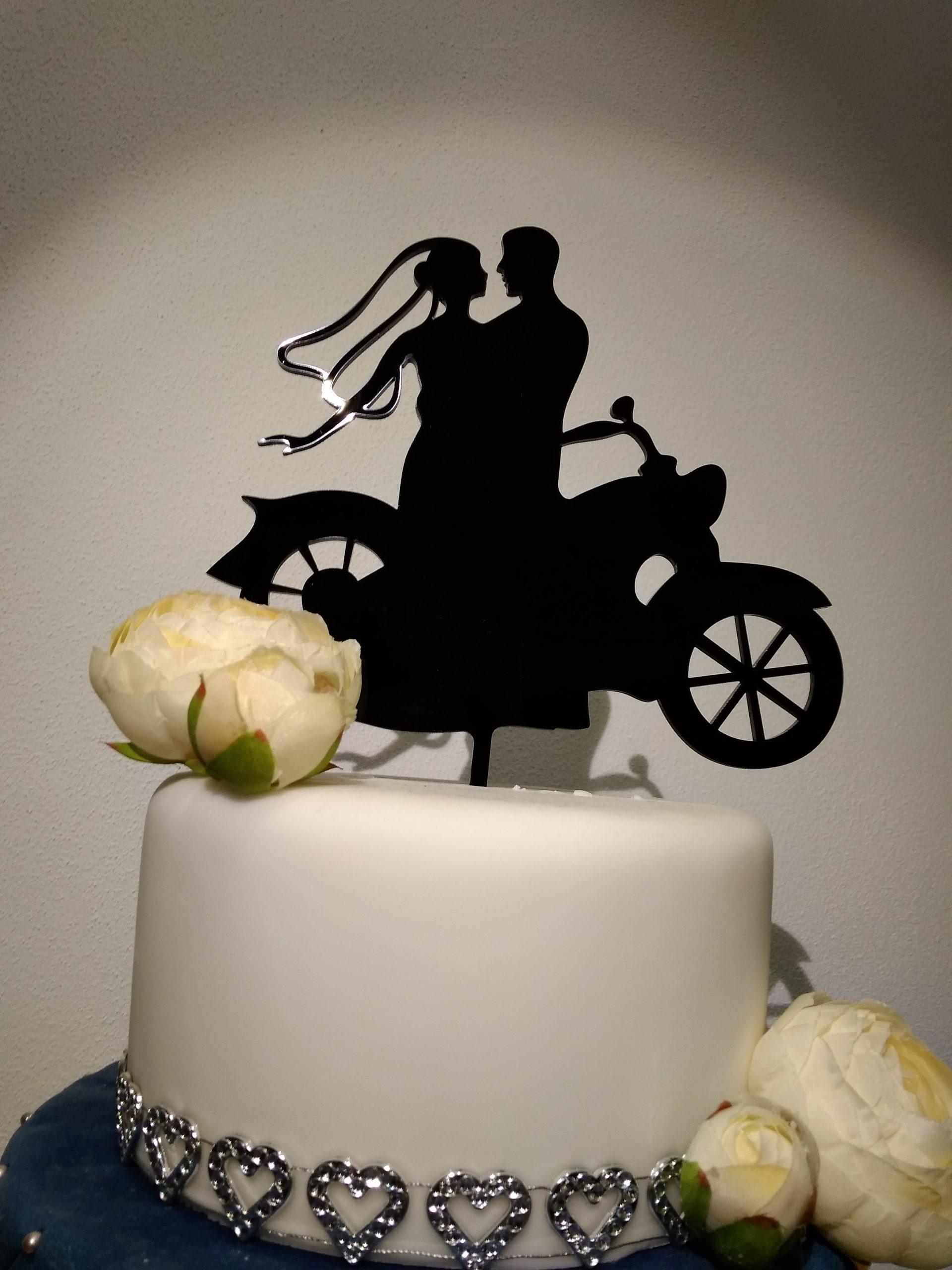 Zápich- Svadobný - Ženích a nevesta na motorke
