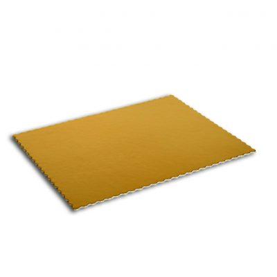 Podložka pod tortu zlatá 60x40cm vlnovkový okraj