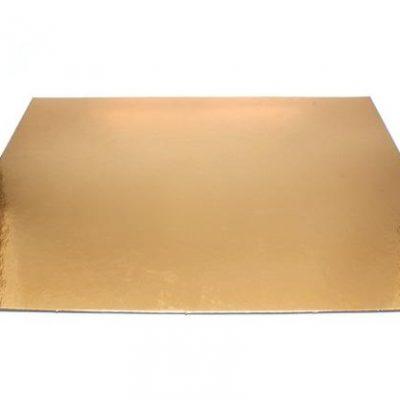 Podnos zlatý hrubý rovný štvorec 27,5 cm